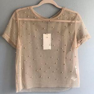 Sheer pearl drop blouse